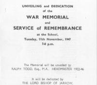 47 Memorial dedication front